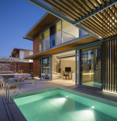 An architectural photograph showing the pool deck of the Marasi Water Homes, Dubai by photographer, Duncan Chard