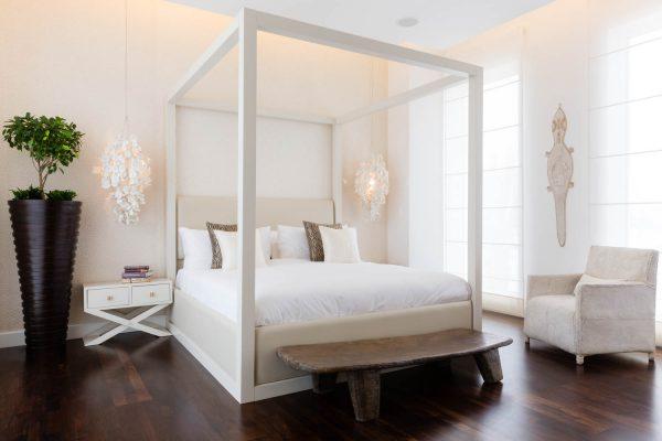A interior photograph of a bedroom in an Al Barari villa, Dubai