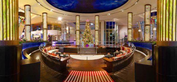 An interior photograph of the reception area of the Jumeriah beach Hotel, Dubai
